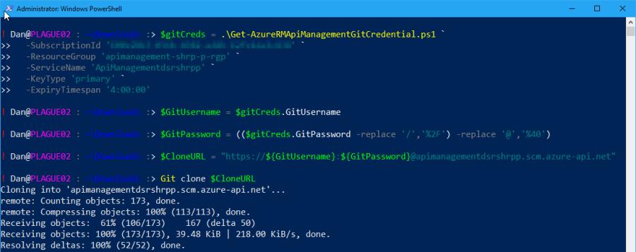 Get Azure API Management Git Credentials using PowerShell