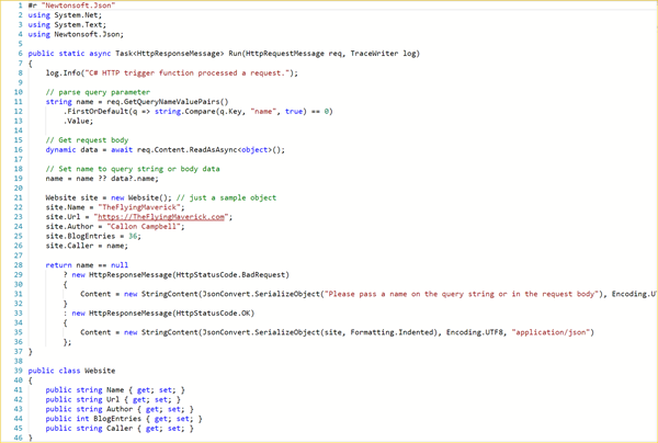How to return JSON from an Azure Function – The Flying Maverick