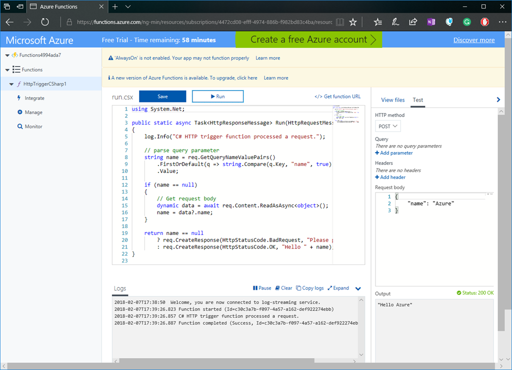 Try Azure Functions for Free – The Flying Maverick
