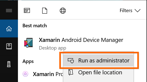 Troubleshooting the installation of Xamarin Android Device Manager