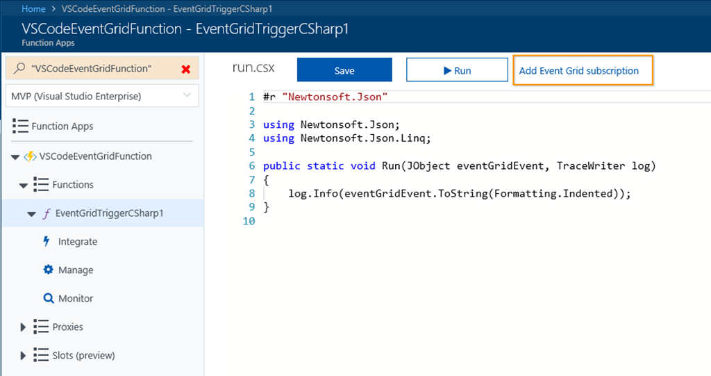 Getting started with Azure Event Grid Extension for Visual Studio